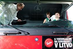 Bozidar Maljkovic, Zoran Dragic and Matjaz Smodis during filming of video for Eurobasket Lithuania 2011 of Slovenian National Basketball team during training camp in Kranjska Gora, on July 12, 2011, in Kranjska Gora, Slovenia. (Photo by Vid Ponikvar / Sportida)