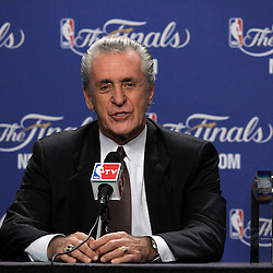 Jun 19, 2012; Miami, FL, USA; Hall of fame coach Pat Riley receives the Chuck Daly Lifetime Achievement Award at the American Airlines Arena. Mandatory Credit: Derick E. Hingle-US PRESSWIRE