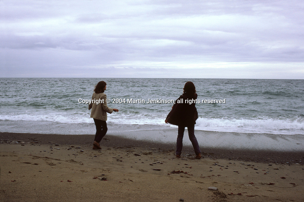 women on a beach in North Wales....travel, lifestyle