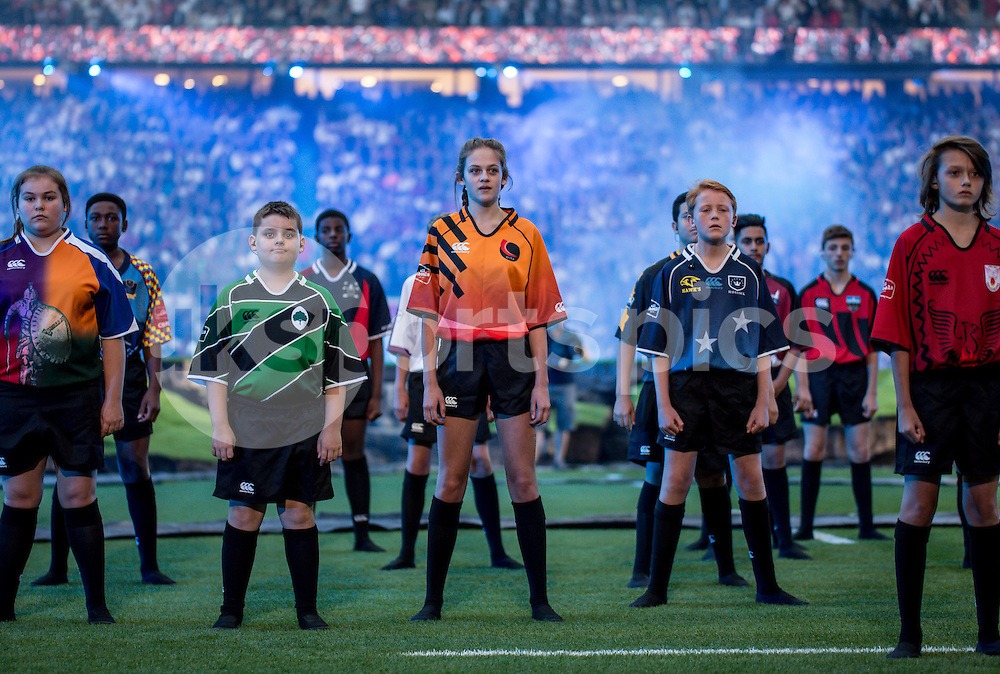 The opening ceremony during the Rugby World Cup 2015 Pool A match between England and Fiji played at Twickenham Stadium, London on 18 September 2015. Photo by Liam McAvoy.