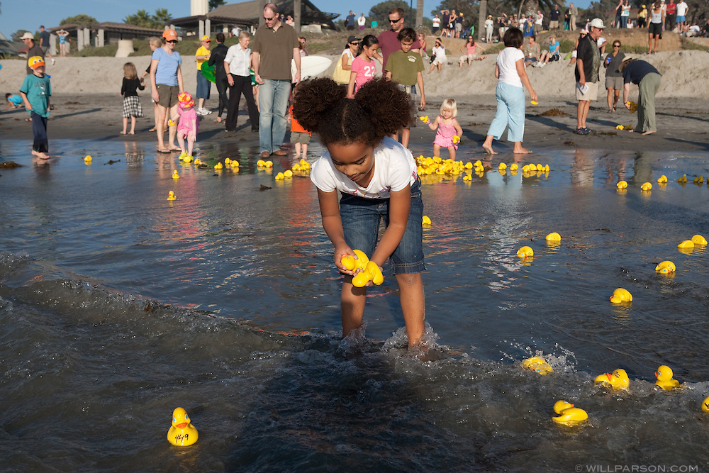 Lifeguards and visitors helped collect the ducks during the first ever Ducky Derby held in Del Mar on Saturday, October 24.