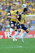 21.04.2013 Sydney, Australia.  Mariners defenders in action during the Hyundai A League grand final game between Western Sydney Wanderers FC and Central Coast Mariners FC from the Allianz Stadium.Central Coast Mariners won 2-0.