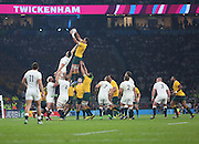 Australia's second rower Rob Simmons winning another Australian line out during the Rugby World Cup Pool A match between England and Australia at Twickenham, Richmond, United Kingdom on 3 October 2015. Photo by Matthew Redman.