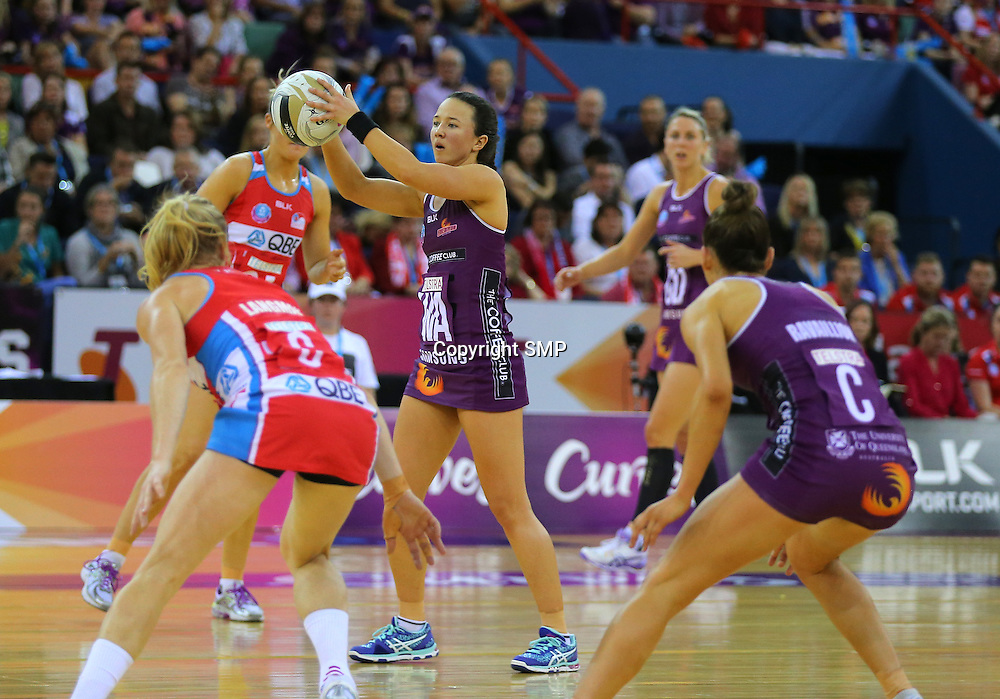 CAITLYN NEVINS - QUEENSLAND FIREBIRDS - PHOTO: SMP IMAGES.COM - 31st July 2016 - Action from 2016 ANZ Netball Championships Grand Final played between the Queensland Firebirds v NSW Swifts at the Brisbane Convention Centre, Boondal Brisbane.<br /> PHOTO: SMP IMAGES.COM
