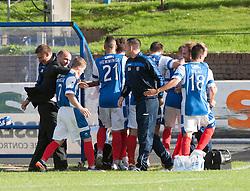 Cowdenbeath's Greg Stewart celebrates after scoring their goal with the bench.<br /> Cowdenbeath 1 v 0 Falkirk, 14/9/2013.<br /> &copy;Michael Schofield.