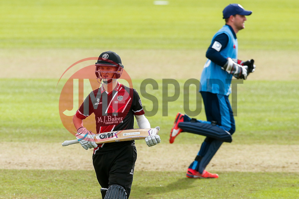 Max Waller of Somerset looks dejected after being caught out for 6 by Chesney Hughes of Derbyshire (b. Ben Cotton) - Mandatory byline: Rogan Thomson/JMP - 07966 386802 - 26/07/2015 - SPORT - CRICKET - Taunton, England - County Ground - Somerset v Derbyshire Falcons -Royal London One-Day Cup.