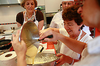 "Lenotre Ecole Culinaire, Paris,..short course - ""Return to the Market"" with Chef Jacky Legras..adding the mascarpone to the whipped cream for the dessert..photo by Owen Franken for the NY Times..July 12, 2007......."