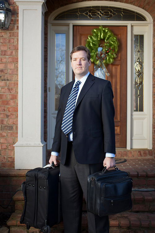 Chris Day, Strategy Planer for Aetna Health Insurance, is on the road five days a week crafting cooperative deals with health-care providers, pictured outside his home near High Point, North Carolina, Thursday, December 8, 2011. ..D.L. Anderson for The Wall Street Journal.LANDSCAPEinsurance