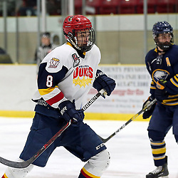 WELLINGTON, ON - JANUARY 13: Logan White #8 of the Wellington Dukes in the first period on January 13, 2019 at Wellington and District Community Centre in Wellington, Ontario, Canada.<br /> (Photo by Ed McPherson / OJHL Images)