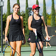 10 November 2017:  The San Diego State Aztecs women's tennis team hosts it's annual Fall Classic II. Abigail Mulbarger and Berta Acero celebrate after winning a point during a doubles match Friday morning. <br /> www.sdsuaztecphotos.com