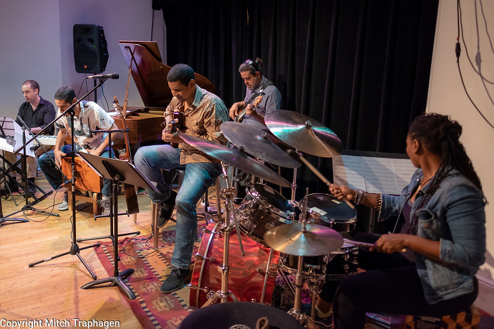 Yuri Juárez and his Afroperuano band performing live at the cell theatre in New York City. June 13, 2018. A Charles R. Hale Production.