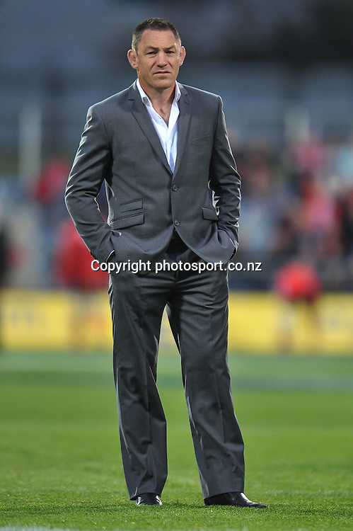 Hurricanes coach Mark Hammett pre game, in the Super Rugby game, Crusaders v Hurricanes, 28 March 2014. Photo:John Davidson/photosport.co.nz