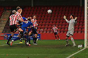 Rob Dickie scores his first goal during the FA Trophy match between Cheltenham Town and Chelmsford City at Whaddon Road, Cheltenham, England on 12 December 2015. Photo by Antony Thompson.