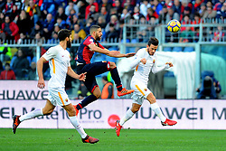 Italian Championship soccer 2017/2018 Genoa vs Roma. 26 Nov 2017 Pictured: Adel Taarabt of Genoa CFC jumps for the ball among Federico Fazio and Alessandro Florenzi of AS Romaduring the italian championship match between Genoa CFC and AS Roma at Luigi Ferraris Stadium in Genoa, on November 26, 2017. Photo credit: Massimo Cebrelli / MEGA TheMegaAgency.com +1 888 505 6342