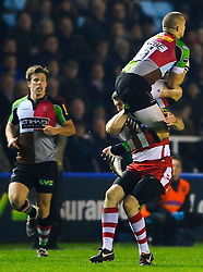 Harlequins Full Back (#15) Mike Brown is dangerously tackled in the air by Gloucester Winger (#14) Shane Monahan who is subsequently shown a yellow card during the second half of the match - Photo mandatory by-line: Rogan Thomson/JMP - Tel: Mobile: 07966 386802 03/11/2012 - SPORT - RUGBY - Twickenham Stoop - London. Harlequins v Gloucester - Aviva Premiership