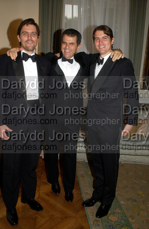 James Ferragamo, Ferruccio Ferragamo  and Salvatore Ferragamo. An Evening in honour of Salvatore Ferragamo hosted by the Ambassador of Italy. The Italian Embassy, 4 Grosvenor Square. London W1. 8 June 2005. ONE TIME USE ONLY - DO NOT ARCHIVE  © Copyright Photograph by Dafydd Jones 66 Stockwell Park Rd. London SW9 0DA Tel 020 7733 0108 www.dafjones.com