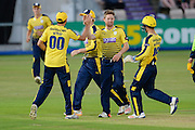 Liam Dawson of Hampshire celebrates his 5th wicket as he takes 5-17  during the NatWest T20 Blast South Group match between Hampshire County Cricket Club and Somerset County Cricket Club at the Ageas Bowl, Southampton, United Kingdom on 29 July 2016. Photo by David Vokes.