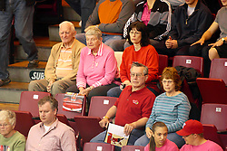 23 October 2010:  Fans eagerly watch during an NCAA, Missouri Valley Conference volleyball match between the Wichita State Shockers and the Illinois State Redbirds at Redbird Arena in Normal Illinois.