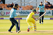 Beth Mooney is bowled playing the reverse during the Royal London Women's One Day International match between England Women Cricket and Australia at the Fischer County Ground, Grace Road, Leicester, United Kingdom on 2 July 2019.