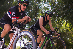 Giorgia Bronzini (ITA) of Cylance Pro Cycling warms up for Stage 1 of the Madrid Challenge - a 12.6 km team time trial, starting and finishing in Boadille del Monte on September 15, 2018, in Madrid, Spain. (Photo by Balint Hamvas/Velofocus.com)