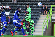 Aaron O'Connor scores his first goal for Forest Green Rovers to equalise against Cardiff during the Pre-Season Friendly match between Forest Green Rovers and Cardiff City at the New Lawn, Forest Green, United Kingdom on 15 July 2015. Photo by Shane Healey.