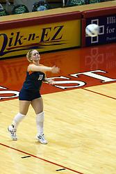 26 Aug 2005<br /> <br /> Illini Jana Wojcik serves.<br /> <br /> The Illini beat the Redbirds in the seasons opener for both team in 5 games 30-24, 30-19, 23-30, 30-21, 15-11.  Redbird Areana, Illinios State University, Normal, IL