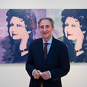 """VENICE, ITALY - MAY 28: Antonio Homem director of the Sonnabend Gallery New York poses in front of a portrait of Ileana Sonnebend by Andy Warhol at the press preview of Ileana Sonnabend """"Un Ritratto Italiano"""" on May 28, 2011 in Venice, Italy. The """"An Italian Portrait"""" Exhibition will be held in dedication to art dealer and collector Ileana Sonnabend, and presentsmore than 60 worksby Italian and international artists such as Pistoletto, Merz, Fontana, Manzoni, Rauschenberg, Koons, Sugimoto, Esser. (Photo by Marco Secchi/Getty Images)"""