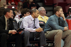 29 December 2014:  Mike Kindhart, Jestion Anderson, Adam Notteboom during an NCAA non-conference interdivisional exhibition game between the Quincy University Hawks and the Illinois State University Redbirds at Redbird Arena in Normal Illinois.