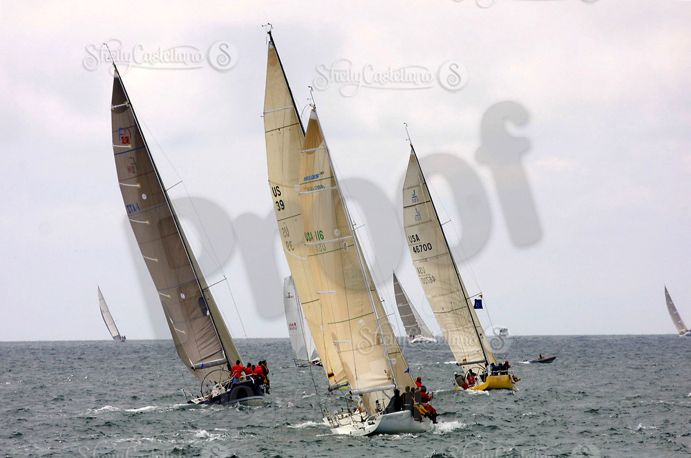 Apr 26, 2002; Newport Beach, California, USA; The start of the 55th annual 125 mile Newport to Ensenada Yacht Race.<br />