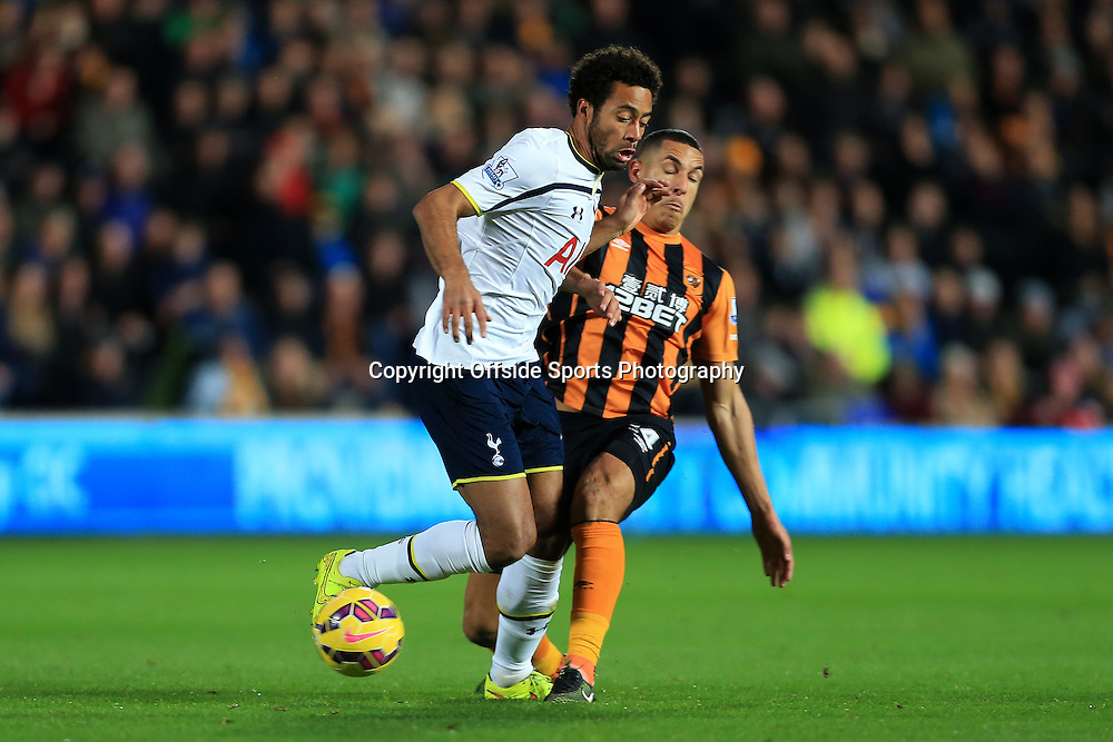 23rd November 2014 - Barclays Premier League - Hull City v Tottenham Hotspur - Jake Livermore of Hull tackles Mousa Dembele of Spurs - Photo: Simon Stacpoole / Offside.