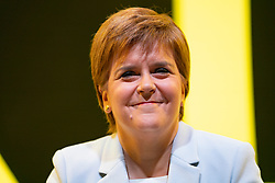Edinburgh, Scotland, UK. 27 April, 2019. SNP ( Scottish National Party) Spring Conference takes place at the EICC ( Edinburgh International Conference Centre) in Edinburgh. Pictured; First Minister Nicola Sturgeon smiles during first day of conference.