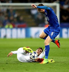 Stevan Jovetic of Sevilla tackles Jamie Vardy of Leicester City - Mandatory by-line: Robbie Stephenson/JMP - 14/03/2017 - FOOTBALL - King Power Stadium - Leicester, England - Leicester City v Sevilla - UEFA Champions League round of 16, second leg