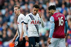 Harry Kane of Tottenham Hotspur looks on in a protective face mask - Mandatory byline: Rogan Thomson/JMP - 13/03/2016 - FOOTBALL - Villa Park Stadium - Birmingham, England - Aston Villa v Tottenham Hotspur - Barclays Premier League.