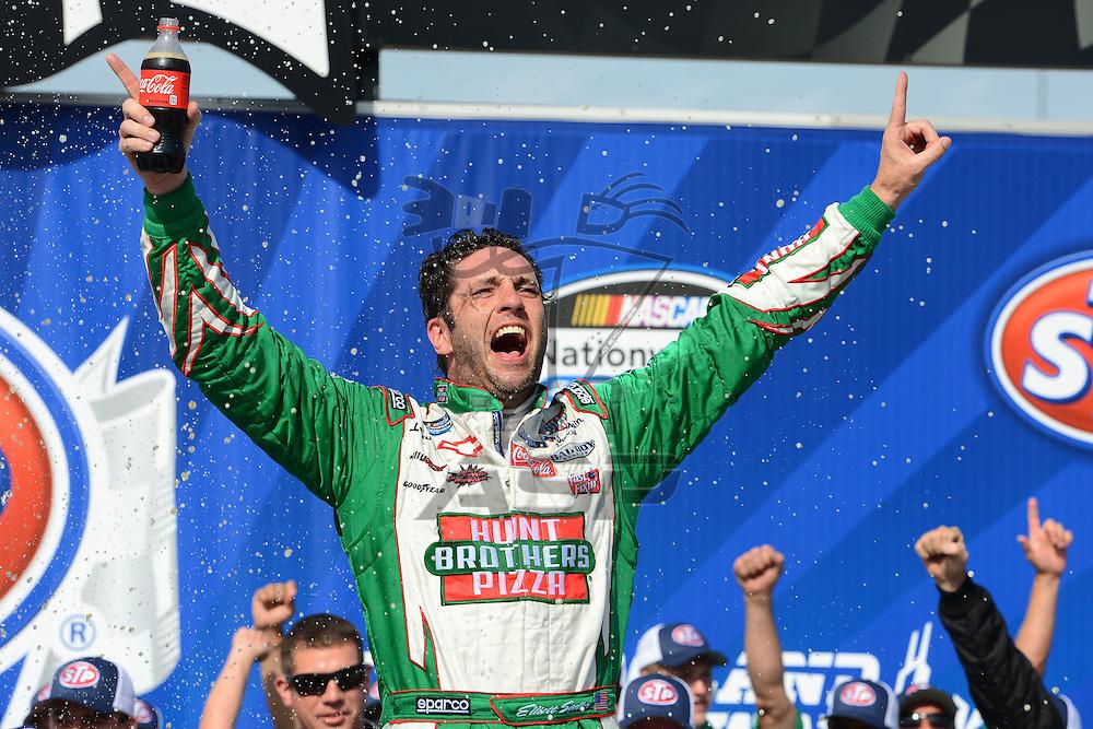 Joliet,Il - JUL 22, 2012: Elliot Sadler (2) wins the STP 300 at Chicagoland Speedway in Joliet, Il.