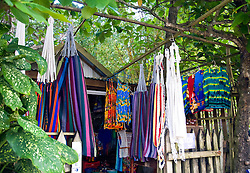 Roatan, Honduras:  A souvenir shop on the main drag of West Bay, the commercial settlement at the far end of this barrier island off the north coast of Honduras.