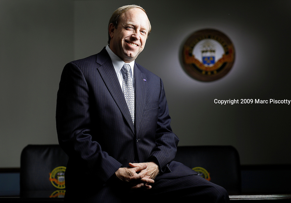 SHOT 5/13/09 3:54:28 PM - Colorado Attorney General John Suthers (R) in his offices in Denver, Co. Following the election of prior Attorney General Ken Salazar to the United States Senate, John Suthers was nominated by Governor Bill Owens and confirmed by the State Senate as the 37th Attorney General of Colorado in 2005. Suthers served the remaining two years of Salazar's term before running for reelection in 2006. In November 2006, Suthers won election to the Attorney General's Office, defeating challenger Fern O'Brien by nine points..(Photo by Marc Piscotty /  2009)