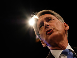 (c) Licensed to London News Pictures. <br /> 02/10/2017<br /> Manchester, UK<br /> The Chancellor of the Exchequer, Philip Hammond delivers a speech at the Conservative Party Conference at the Manchester Central Convention Complex.<br /> <br /> Photo Credit: Ian Forsyth/LNP