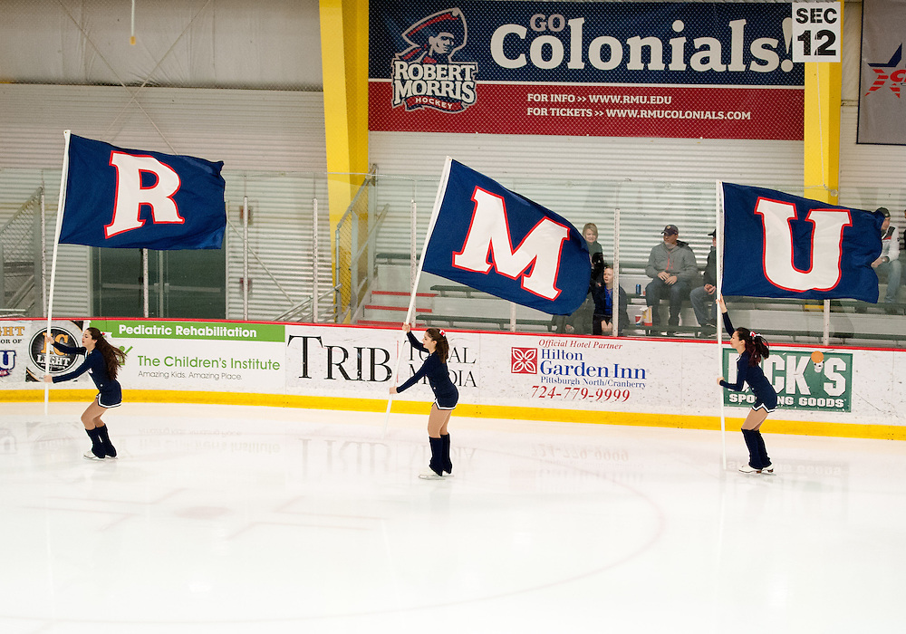 March 11 2016: Members of the Robert Morris Colonials ice crew skate out onto the ice before the start of the first period in game one of the Atlantic Hockey quarterfinals series between the Bentley Falcons and the Robert Morris Colonials at the 84 Lumber Arena in Neville Island, Pennsylvania (Photo by Justin Berl)