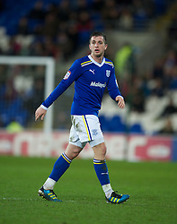 CARDIFF, WALES - Tuesday, February 14, 2012: Cardiff City's Andrew Taylor in action against Peterborough United during the Football League Championship match at the Cardiff City Stadium. (Pic by David Rawcliffe/Propaganda)