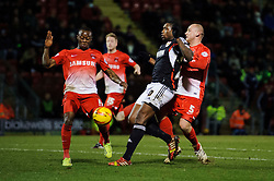 Bristol City Midfielder Jay Emmanuel-Thomas (ENG) is is challenged by Leyton Orient Midfielder Moses Odubajo (ENG) and Defender Scott Cuthbert (SCO) - Photo mandatory by-line: Rogan Thomson/JMP - 07966 386802 - 11/02/2014 - SPORT - FOOTBALL - The Matchroom Stadium, London - Leyton Orient v Bristol City - Sky Bet Football League 1.