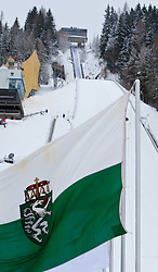 13.01.2012, Kulm, Bad Mitterndorf, AUT, FIS Ski Flug Weltcup, Probesprung, im Bild die Flagge des Bundeslandes Steiermark, im Hintergrund die Schanzenanlage // the flag of the province of Styria, in the background the ski jump during the Practice Jump of FIS Ski Flying World Cup at the 'Kulm', Bad Mitterndorf, Austria on 2012/01/13, EXPA Pictures © 2012, PhotoCredit: EXPA/ Juergen Feichter
