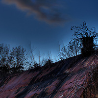 Cabin roof and evening sky in Hocking Hills Ohio