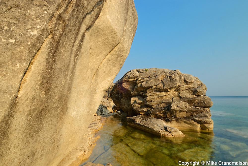 Limestone rock on shore of Georgian Bay. Lake Huron<br /> <br /> Ontario<br /> Canada