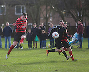 Fintry Athletic's Sean Anderson fires in a volley during his side's  last 16 Scottish Cup clash with Medda Sports - Dundee Sunday Amateur Football<br /> <br />  - &copy; David Young - www.davidyoungphoto.co.uk - email: davidyoungphoto@gmail.com