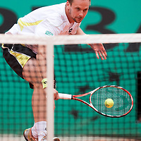7 June 2009: Robin Soderling of Sweden hits a backhand during the Men's Singles Final match on day fifteen of the French Open at Roland Garros in Paris, France.