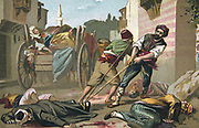 Massacre of Armenians by Ottoman Turks under Abdul Hamid, 1895-1896  Bodies of victims of the massacre at Malatya, Anatolia, being collected.  Religious Conflict Turkey Trade Card  French Chromolithograph