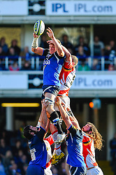 Bath Lock (#4) Stuart Hooper (Capt) wins a lineout during the first half of the match - Photo mandatory by-line: Rogan Thomson/JMP - Tel: Mobile: 07966 386802 09/11/2012 - SPORT - RUGBY - The Recreation Ground - Bath. Bath v Newport Gwent Dragons  - LV= Cup