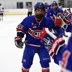 TORONTO, ON  - NOV 26,  2017: Ontario Junior Hockey League game between the Toronto Jr. Canadiens and the Toronto Patriots, Matthew Di Cesare #11 of the Toronto Jr. Canadiens celebrates the goal during the first period.<br /> (Photo by Andy Corneau / OJHL Images)