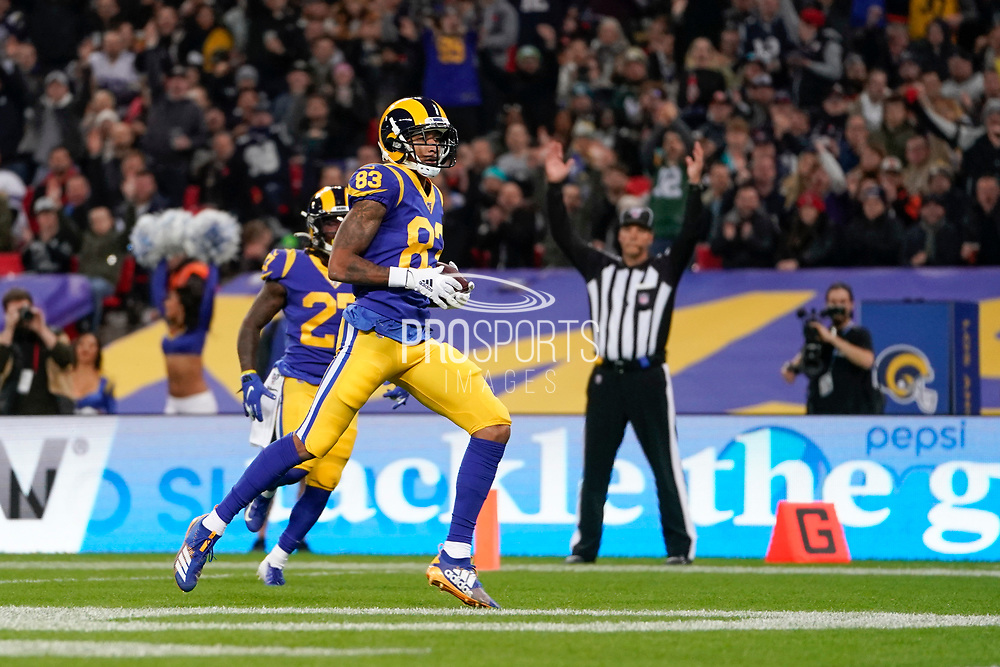 Touchdown, LA Rams Wide Receiver Josh Reynolds (83) catches a pass and runs in for a touchdown, during the International Series match between Los Angeles Rams and Cincinnati Bengals at Wembley Stadium, London, England on 27 October 2019.