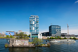 New luxury high-rise apartment building built beside Berlin Wall on River Spree in Friedrichshain Berlin Germany